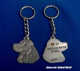 american water spaniel keychain pewter