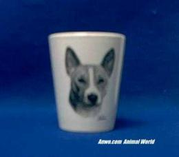 basenji shot glass porcelain
