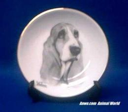 basset hound plate porcelain