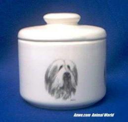 bearded collie jar porcelain