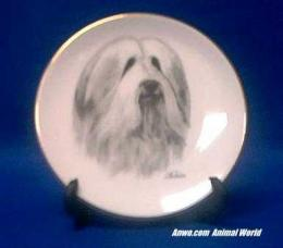 bearded collie plate porcelain