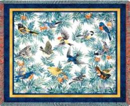 bird blanket throw tapestry songbirds