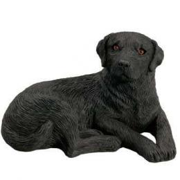 black lab figurine sandicast lying midsize ms332