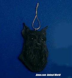 black schnauzer christmas ornament face
