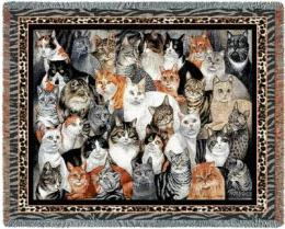 cat blanket throw tapestry afghan cats collage