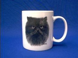 black persian cat mug