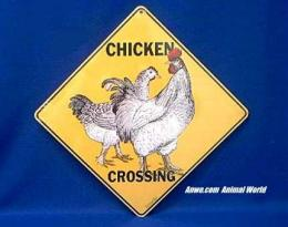 chicken crossing sign rooster and hen