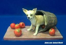 chihuahua figurine apple basket statue