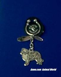 collie keychain silver