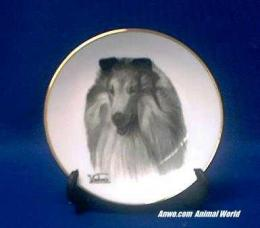collie plate porcelain