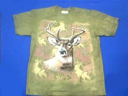 buck deer t shirt camouflage green