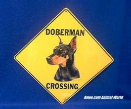 doberman crossing sign dobie