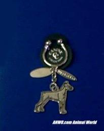 doberman keychain silver
