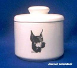 doberman pinscher jar porcelain