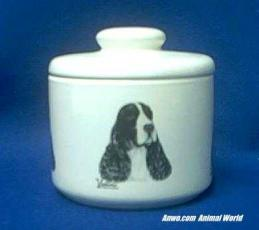 english springer spaniel jar porcelain