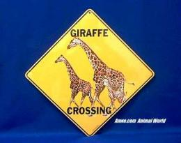 giraffe crossing sign