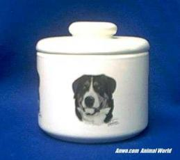 greater swiss mountain dog jar porcelain