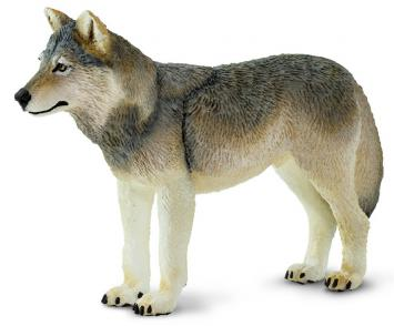 Grey Wolf Toy Miniature Replica Standing