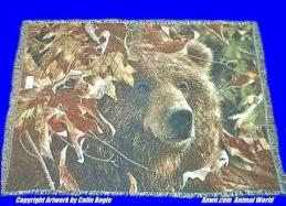 grizzly bear blanket throw tapestry pure country