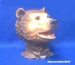grizzly bear head figurine