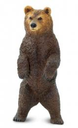 Grizzly Bear Standing toy Miniature Replica Anwo