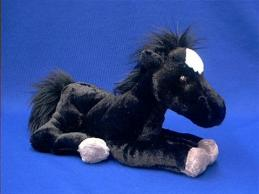 horse stuffed animal plush black white blaze