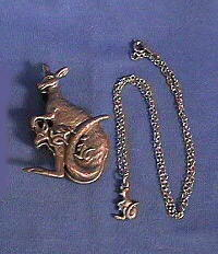 kangaroo earrings pin pendant pewter trio