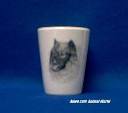 keeshond shot glass