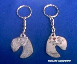 kerry blue terrier keychain pewter