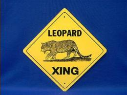 leopard crossing sign