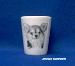 long hair chihuahua shot glass