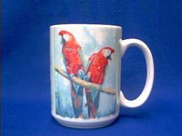 red macaw mug