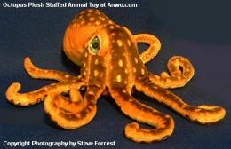 octopus plush stuffed toy orange brown