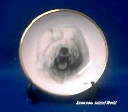 old english sheepdog plate porcelain