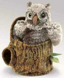 owl puppet owlet in stump