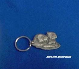 pair sea otters keychain pewter