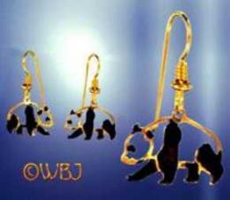 panda earrings gold with enamel