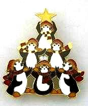 penguin christmas tree brooch pin