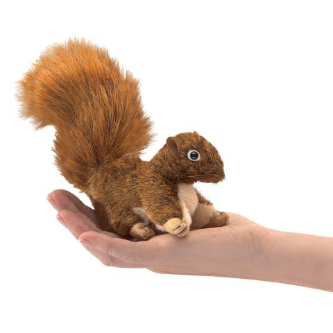 Red Chipmunk with Acorn Finger Puppet