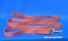 red leash adjustable dog lead 6 foot long x 3/4 wide