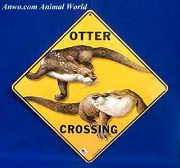 river otter crossing sign usa