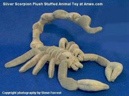 silver scorpion plush stuffed animal toy