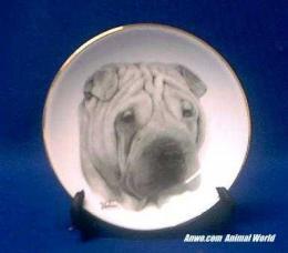 shar pei plate porcelain