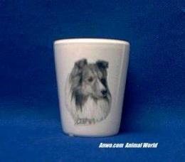 shetland sheepdog sheltie shot glass