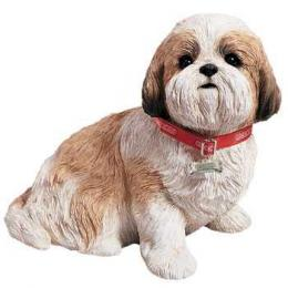 lifesize shih tzu figurine gold white