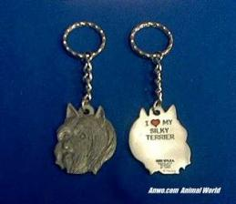 silky terrier keychain pewter