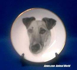 smooth fox terrier plate porcelain