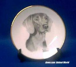 weimaraner plate porcelain