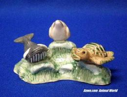 whale dolphin turtle figurine see hear speak no