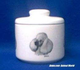 white poodle jar porcelain